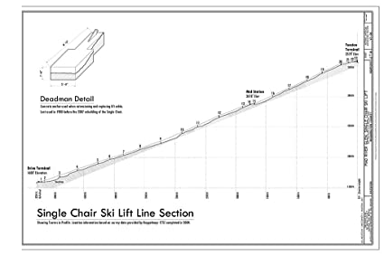 historic pictoric blueprint diagram single chair ski lift line section -  mad river glen, single