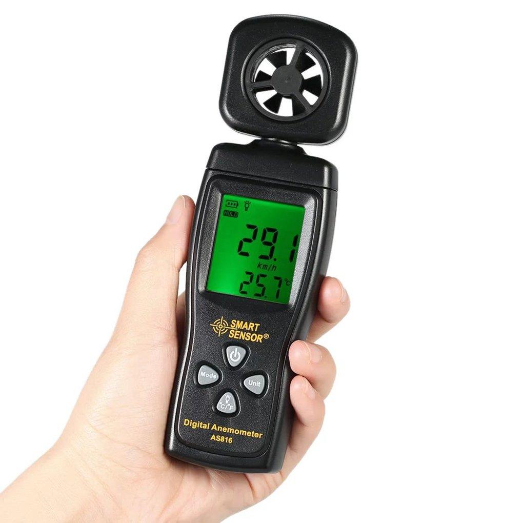 SMART SENSOR AS816 Multifunctional Anemometer LCD Wind Speed Meter Air Velocity Gauge Windmeter Temperature Measuring