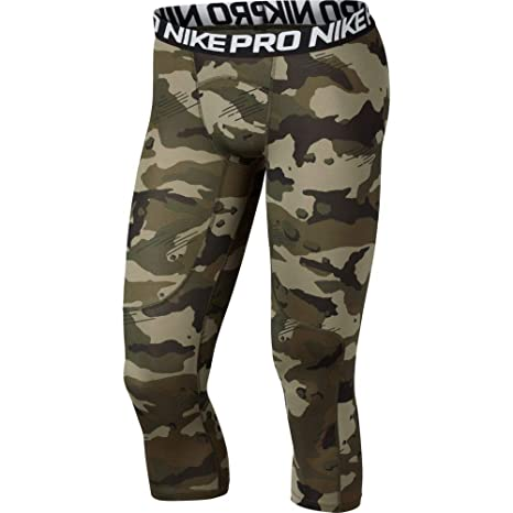 728ee5d373f Nike Men's Pro 3/4 Length Camo Compression Tights (Olive Canvas/White,