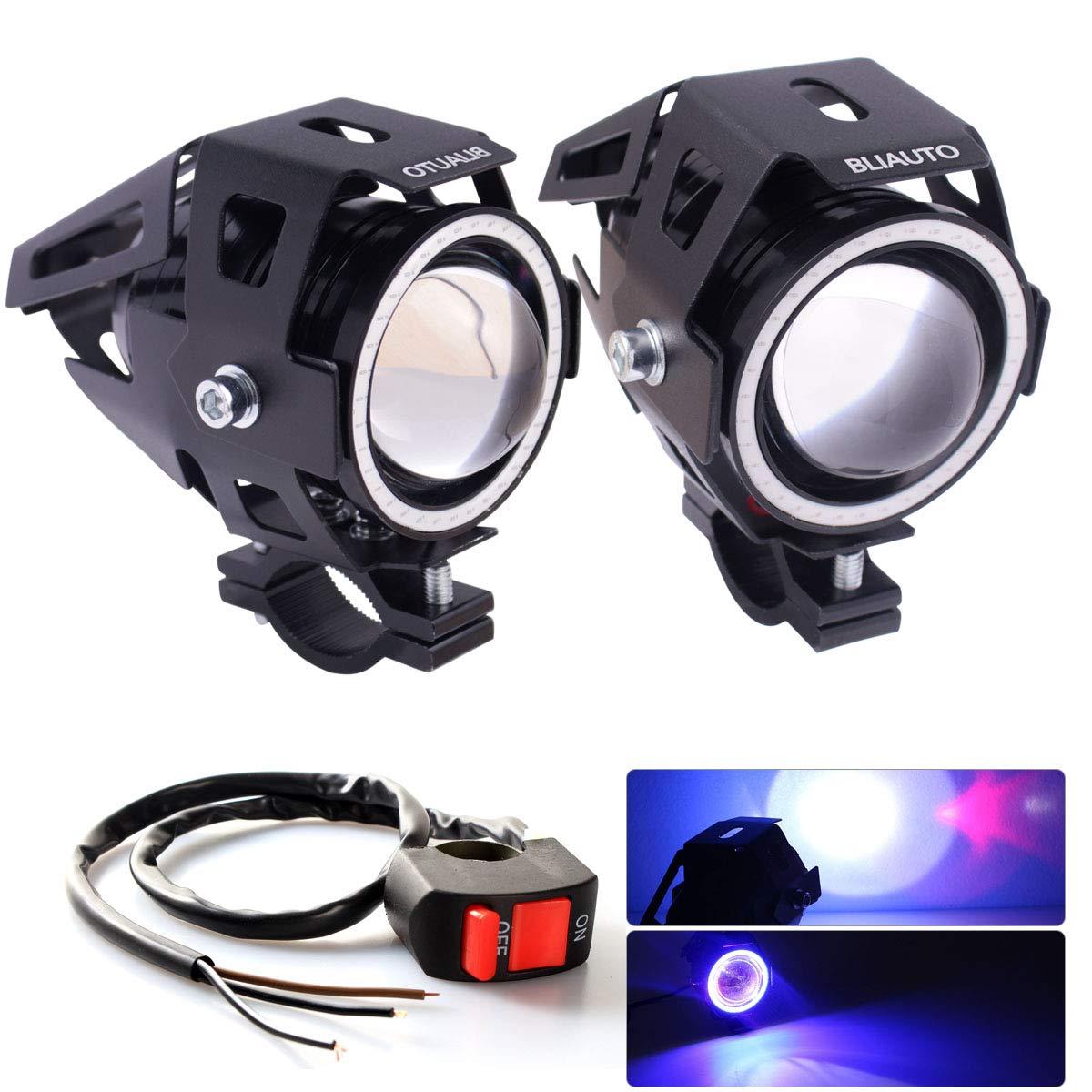 BLIAUTO Motorcycle LED Headlight U7 Cree Driving Fog Running Lights DRL Universal Front Spot Halo Ring Work Light Lamp for ATV UTV Trucks Hi//Lo Beam with Switch 2PCS, Blue Angle Eye