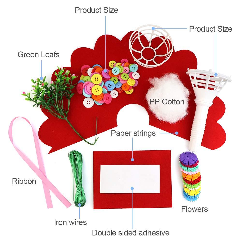 SENWOW DIY Assorted Crafts Button Felt Bouquet Kit Making 40 Flowers for Teacher Mother\'s Day Gift