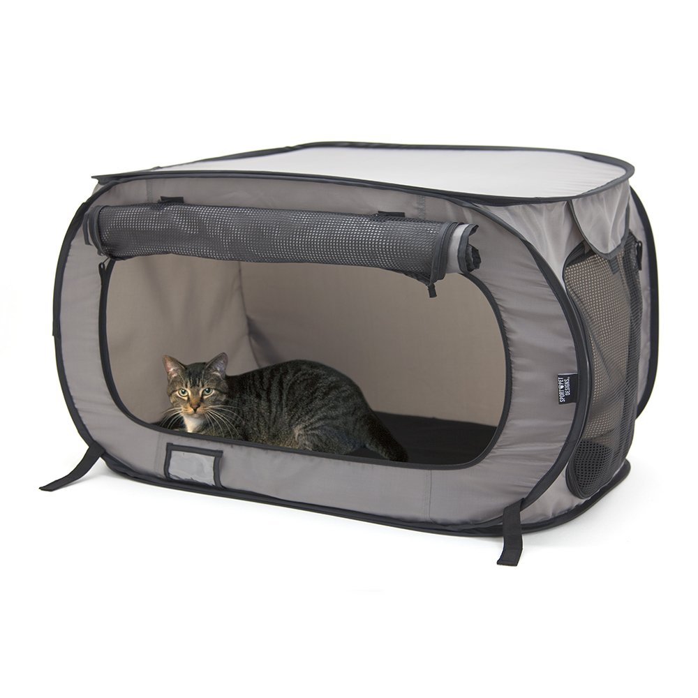 SportPet Designs Large Pop Open Kennel, Portable Cat Cage Kennel, Waterproof Pet bed, Carrier Collection by SportPet Designs