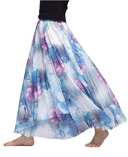 d95e887687 Women's Floral Chiffon Long Maxi Skirts Ankle Length Elastic Waist Bohemian  Beach Skirt (#56