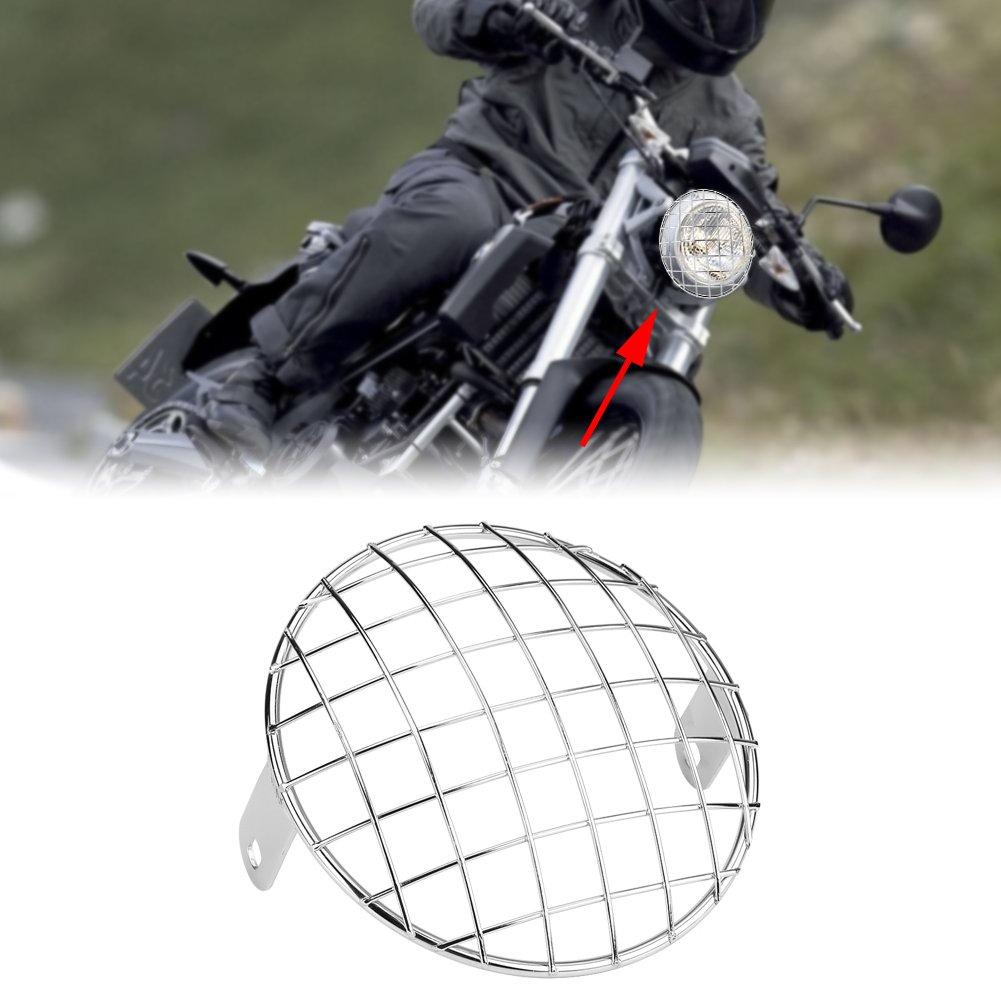 KIMISS Motorrad 6,5 Scheinwerfer Mesh Grill Side Mount Universal Abdeckung Maske f/ür Cafe Racer Bobber