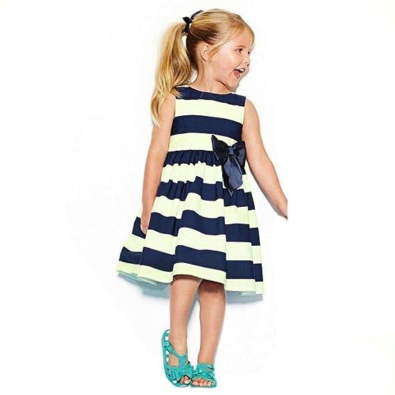 Vestido Bebe Niña Verano, K-youth® Ropa Bebe Niña Verano Vestido Niña Ceremonia Princesa Vestido Bebe Bautizo Fiesta Boda Vestidos Verano Niña Playa Rayas ...