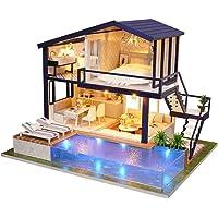 Miju DIY Dollhouse avec Double Couche LED, Mini Maison Villa Jouets Éducatifs, Faire Une Maison De Rêve À La Main