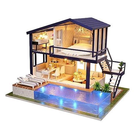 Casa de madera DIY Dollhouse Mini Kit Hecho a mano Doll House Miniature LED Light Cabin Cuento de hadas Decoración del hogar Casa Niñas Niños ...