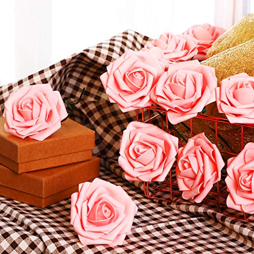 1414b34a5f0 Poen 100 Pieces Artificial Flowers Blush Roses Foam Rose with Stem for DIY  Wedding Bouquets Centerpieces Party Baby Shower Home Decorations
