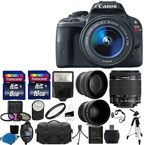 Canon EOS Rebel SL1 18.0 MP CMOS Digital SLR Full HD 1080 Video Body with EF-S 18-55mm Complete Deluxe Accessory Bundle [並行輸入品]   B07FPXP6Z5