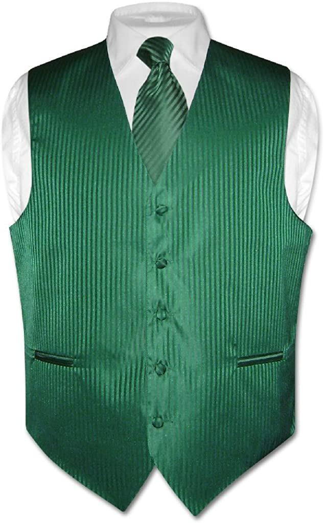 Vesuvio Napoli Men's Dress Vest Necktie Emerald Green Color Vertical Stripe Design Neck Tie Set