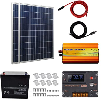 200 Watt Poly Solar Panel Kits:2pcs 100w Polycrystalline Solar Panels,1pc  50Ah Battery,1pc 12V 1KW Inverter,2 sets of Z Mounting Brackets ,1 set 5m