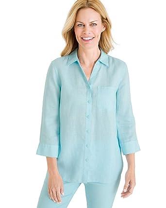 15923ed9 Chico's Women's No-Iron Linen Shirt at Amazon Women's Clothing store: