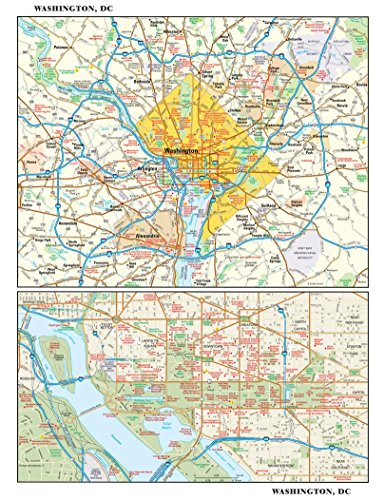 Washington, DC Wall Map - 11.5 x 14.75 inches - Matte Plastic - Flat - Columbia Of Map Mall