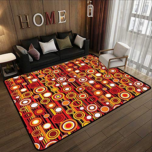 Kitchen Floor mats,House Decor Collection,Vertical Lines and Circle Pattern Stripes Nostalgia Contrasting Warm Colors Print,Red Orange Yell 59