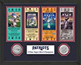 1 Pc, New England Patriots Super Bowl Ticket Collection Plaque, 12 x 15 Wood Frame, A Solid Bronze Super Bowl Champions Commemorative Coin & A Solid Bronze NFL Coin, Certificate Of Authenticity
