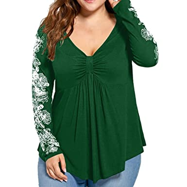 7e969d982fe Kangma Women Plus Size Summer Lady Flowers Long Sleeve T-Shirt Casual Top  Henleys Blouse