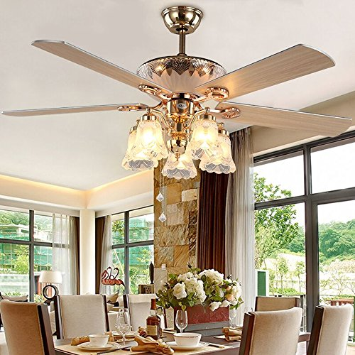 Andersonlight 52-Inch Ceiling Fan with Five Blades and Five Swirled Marble Glass Light Kit, Golden Finish
