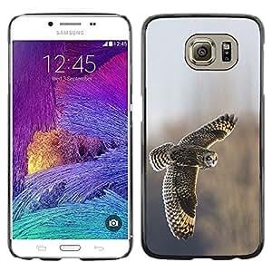 Las plumas del búho campo de vuelo Alas Invierno- Metal de aluminio y de plástico duro Caja del teléfono - Negro - Samsung Galaxy S6