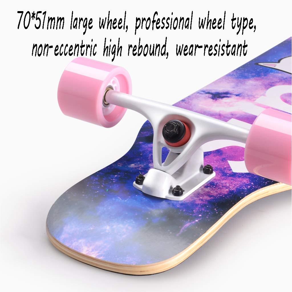 HXGL-Skateboard Skateboard Longboard Four-Wheeled Scooter Beginner Girls Boys Professional Adult Brush Hip-hop Board Youth (Color : Black) by HXGL-Skateboard (Image #3)