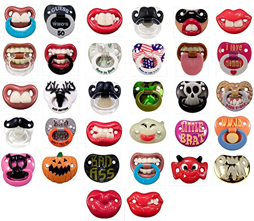 6 Pack- 6 Assorted Billy Bob Teeth Baby Pacifiers, Includes 6 BPA Free Pacifiers, Only Pacifier Brand With Personality!! BULK PACK