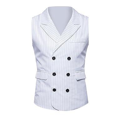 Xmiral Veste Costume Homme Double Boutonnage Gilet rétro Officiel Tweed Slim  (S 62fd4133d17