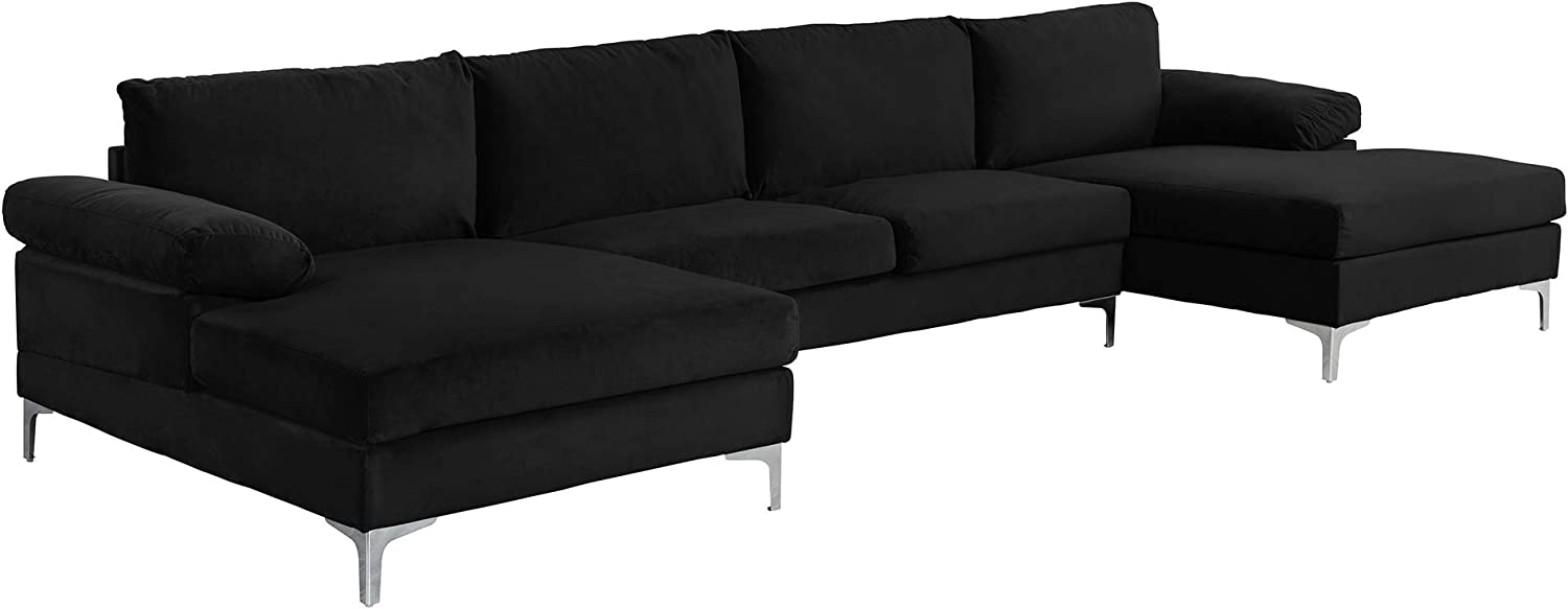Casa Andrea Milano Modern Large Velvet Fabric U-Shape Sectional Sofa, Double Extra Wide Chaise Lounge Couch, Midnight