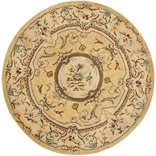 Bergama Runner Rug - Safavieh Bergama Collection BRG168A Handmade Light Gold and Beige Premium Wool Round Area Rug (4' Diameter)
