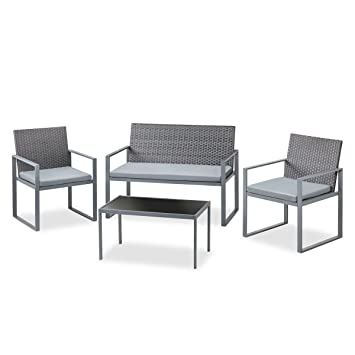 Mc Haus EXM4322G Set de Muebles Jardín Terraza, Gris: Amazon ...