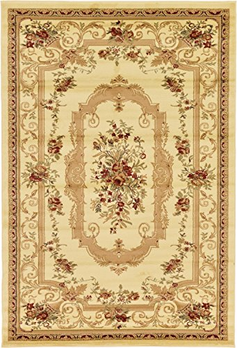 Persian Traditional Design rugs, Cream 6' x 9' - Feet Tiba Collection Area rug - Perfect for any Room, Floor Carpet