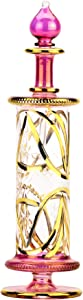 NileCart X large Egyptian perfume bottles handmade in Egypt with 24K gold decoration your for Perfume, Essential Oils, Egyptian Decoration or Party Table Centerpiece (Pink)