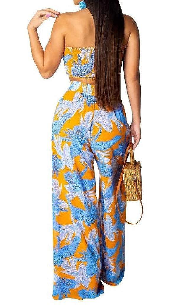 DressU Womens Wide Legs Chest Wrapped Print 2-Piece Straps Jumpsuit Romper
