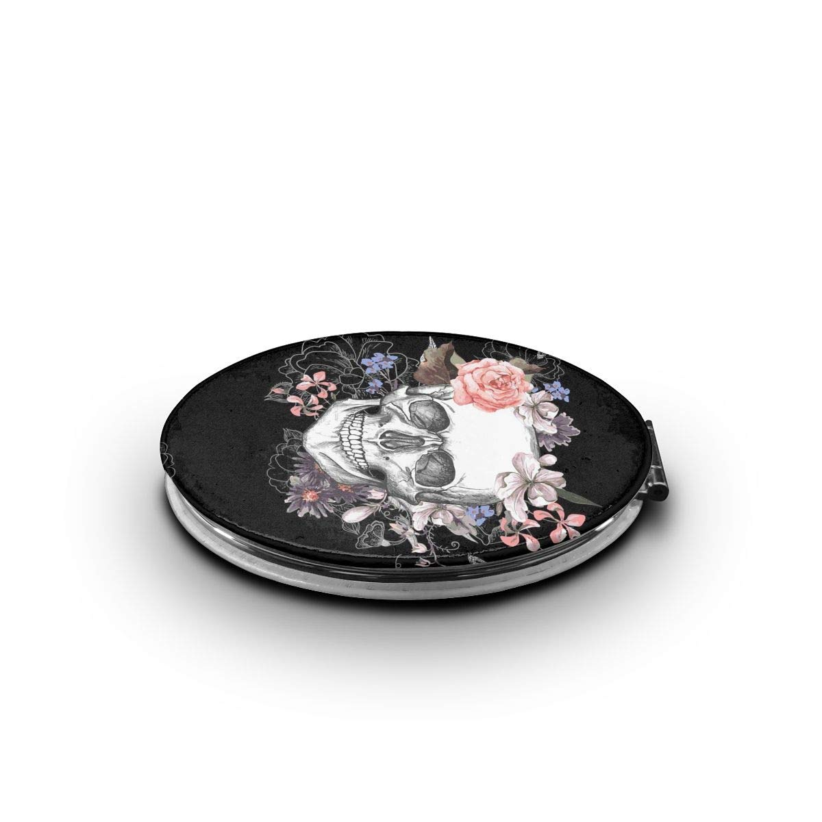 Compact Makeup Mirror - Pink Floral Sugar Skull Flower Folding Mini Pocket Portable Hand Mirror Double-sided For Purses And Travel With 2 X 1x Magnification For Woman Mother Kids Great Gift