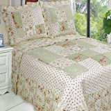 Extra Wide King Size Comforters Quilt Coverlet Set 3 Piece Oversize King/California King Size Chic Shabby Romantic Roses Green Flowers Floral Printed Patchwork Pattern Reversible Lightweight Hypoallergenic Bedding