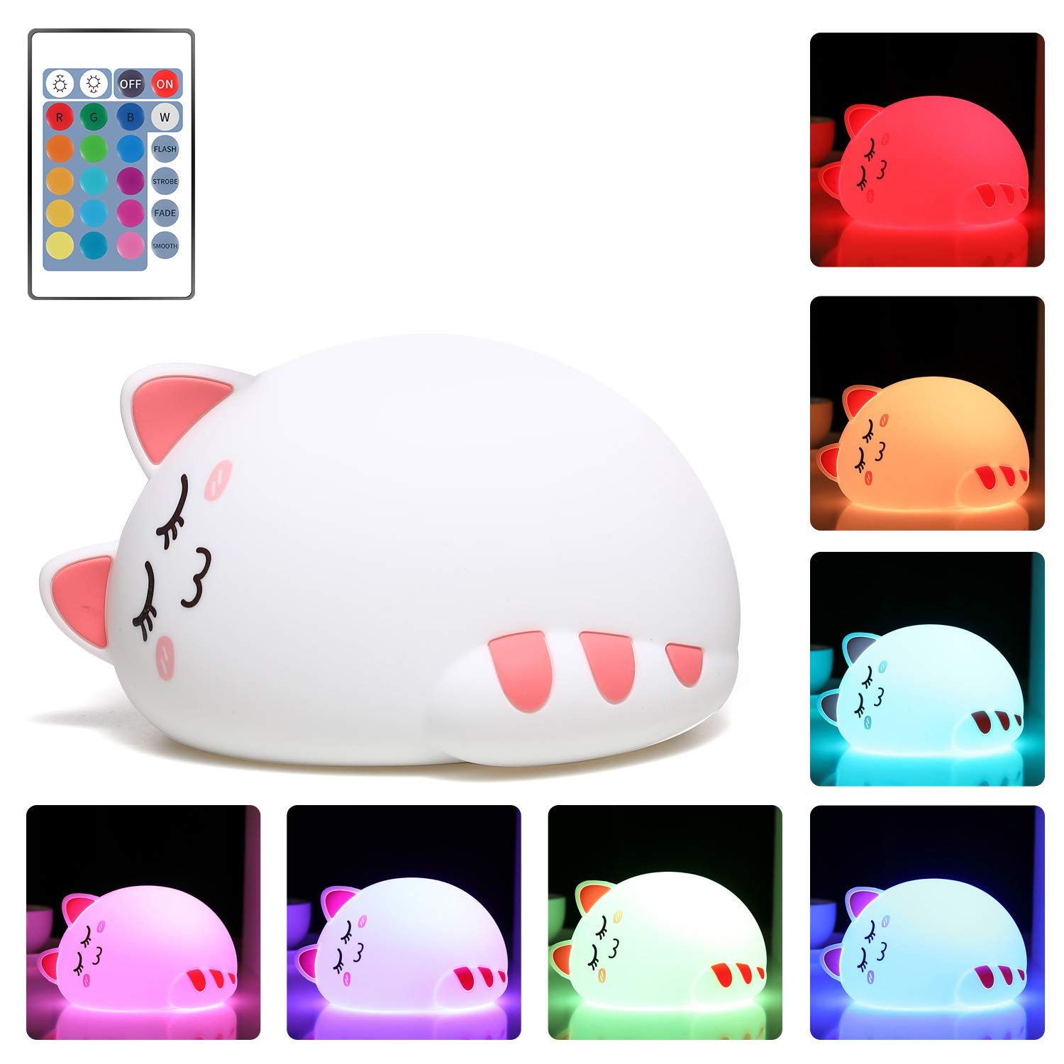One Fire Baby Nursery Night Light for Kids, Cute Cat Soft Silicone Animal Night Lamp, Remote Control Color Changing Bedroom Breastfeeding Nightlight for Newborn Toddler Children Girls (Sleep Plus)