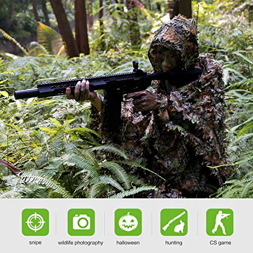Ghillie Poncho Leafy Green - 3D Leafy Ghillie Poncho Suit for Youth, Boys, Kid Hooded Hunting Airsoft Camouflage (Fit Tall 3.3-4.3ft, Poncho Suit)