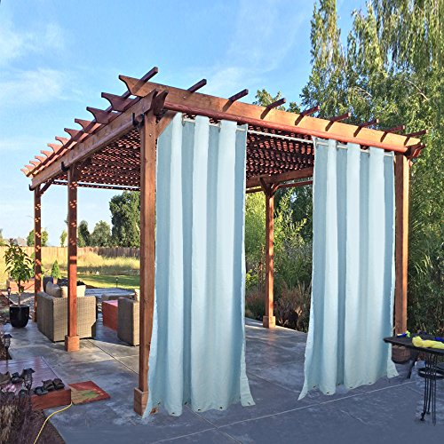 Pro Space Outdoor Drape and Curtain 50x84-Inch for Pergola Thermal Insulated Blackout Curtain Panel with Rust Proof Rings on Top and Bottom, Windproof and Mildew Resistant ,Blue