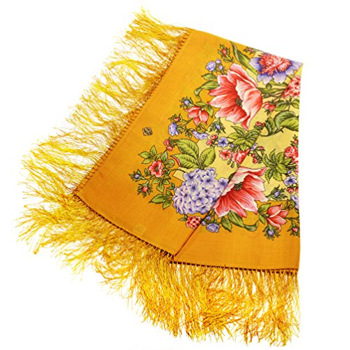 Wool Yellow Floral Scarf...