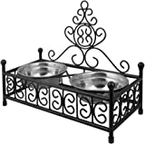 HLC Double Dog Cat Diner Feeding Bowl Set with Stainless Steel Dishes, Small