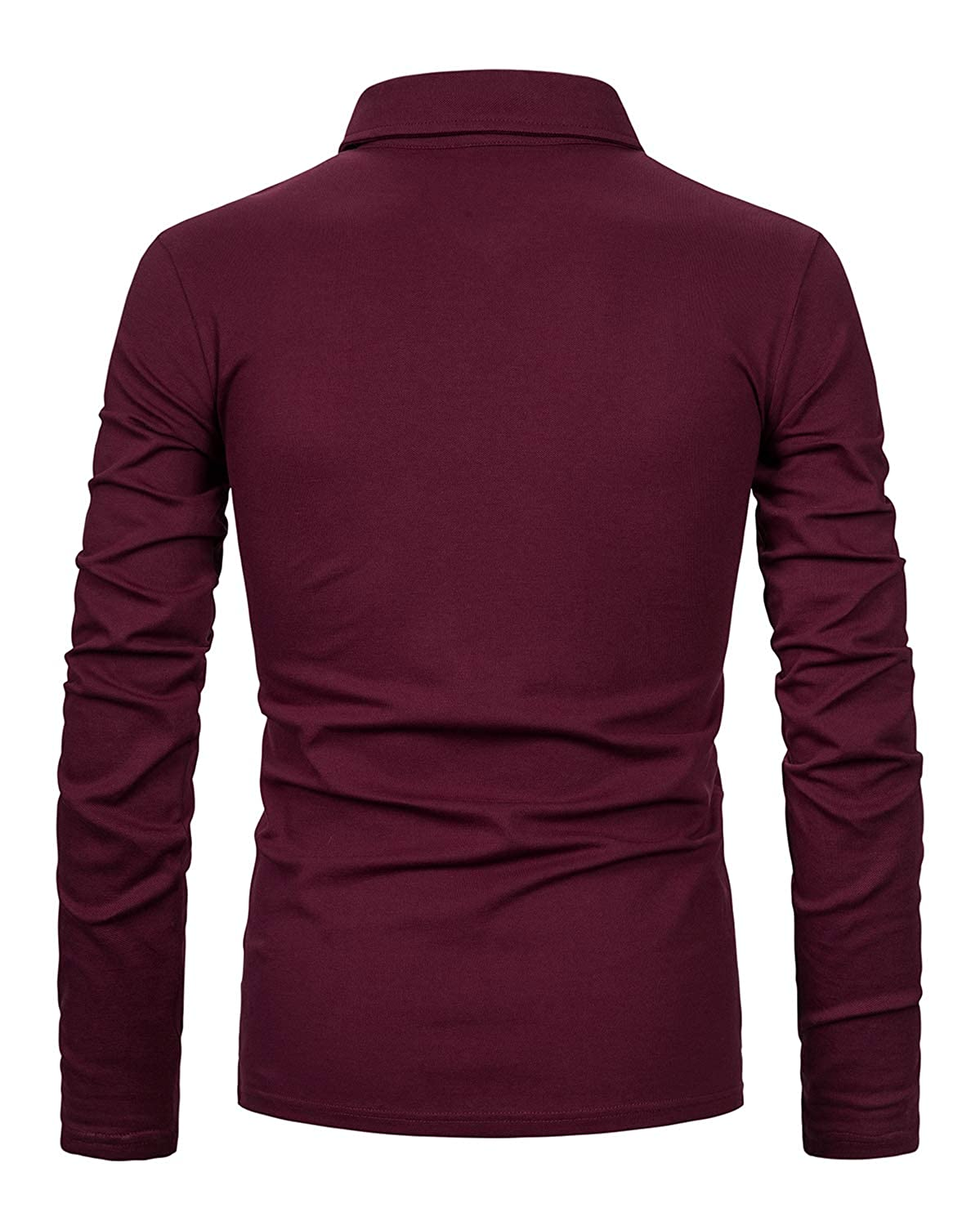 XXIE Mens Long Sleeve Polo Shirts with Fashion Plaid Collar Casual Tops