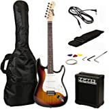 RockJam Full Size Electric Guitar Superkit with Amp, Strings, Strap, Case and Cable - Sunburst