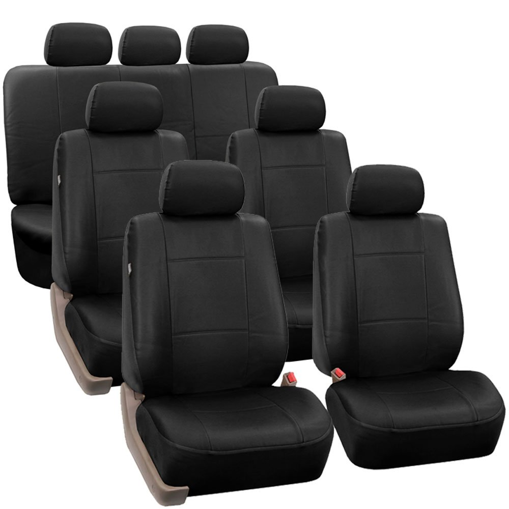 Amazon FH GROUP PU002 1217 3 Row PU Leather Car Seat Covers W 7 Headrests Airbag Compatible And Split Bench Solid Black Color Fit Most