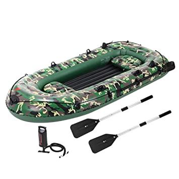 BQT Kayak Inflable Bote de Pesca Dinghy Conjunto, 4 Persona Bote ...