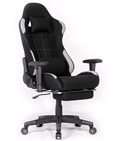 Ergonomic Gaming Chair Racing Style Office Chair Recliner Computer Chair Fabric High-Back E-Sports Chair Height Adjustable Gaming Office Desk Chair with Massage and Footrest Black Grey,Footrest