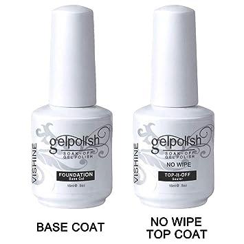 Amazon.com: Vishine 15ml No Wipe Top Coat Base Coat Gel Nail Polish ...