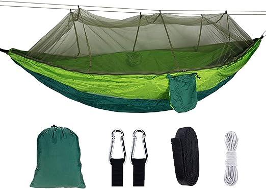 ZXGQF Hamaca Ultraligera para Viaje y Camping, Nylon de Paracaídas de Secado Rápido- Hamaca de Lona, para Jardín Patio Trasero Playa Mochileros 260 * 140CM (K): Amazon.es: Hogar