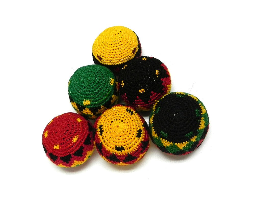 Mia Jewel Shop Guatemalan Handcrafted Crochet Assorted Pattern Hacky Sack Ball Foot Bag Rasta - Wholesale Set of 3, 6, 12, or 24 (Set of 24) by Mia Jewel Shop (Image #2)