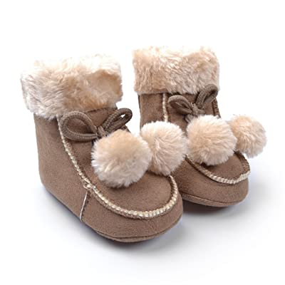 Baby Boys Girls Snow Boots, CoKate Toddler Soft Sole Anti Slip Boots Winter Plush Shoes with Pom Pom