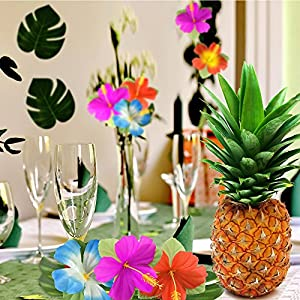 """Kuuqa 60 Pcs Tropical Party Decoration Supplies 8"""" Tropical Palm Monstera Leaves and Hibiscus Flowers, Simulation Leaf for Hawaiian Luau Party Jungle Beach Theme Table Decorations 7"""