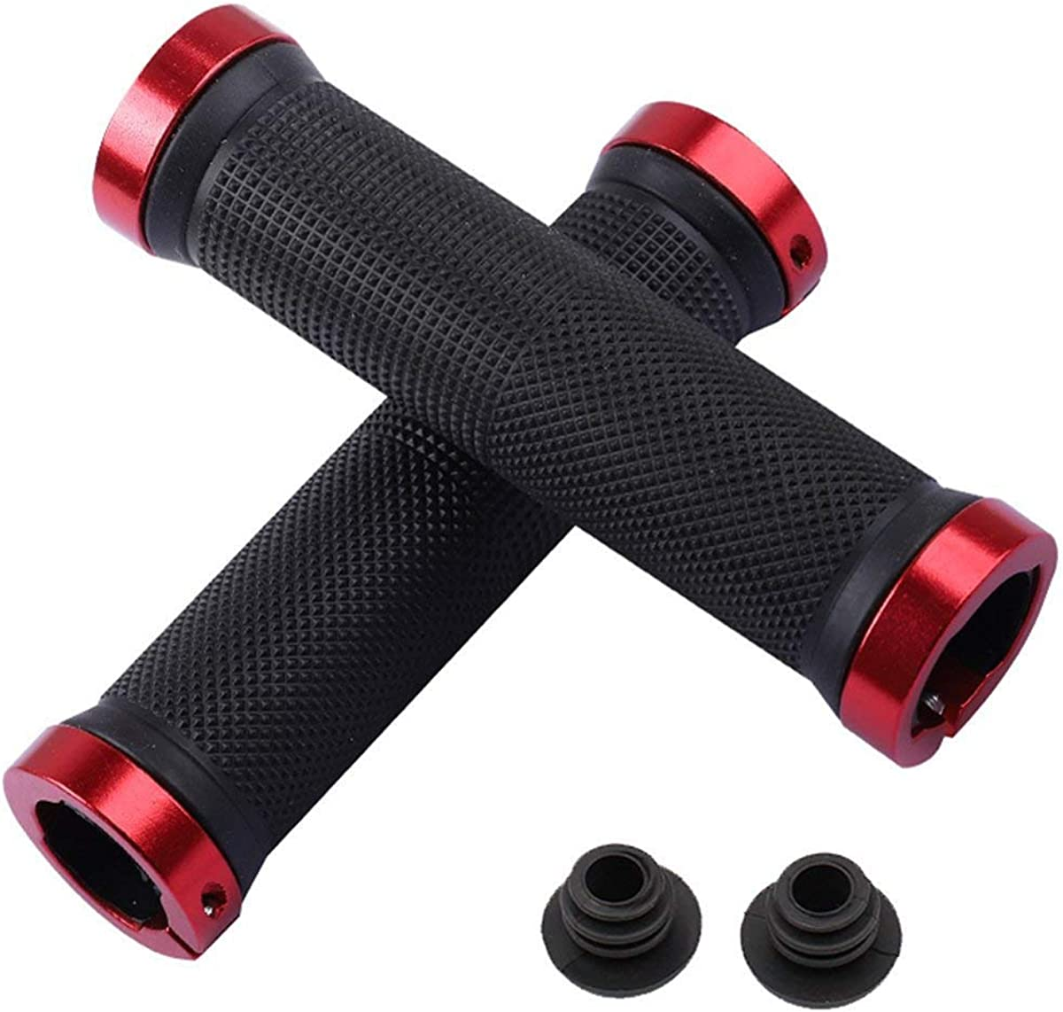 Bicycle Grips,Double Lock on Locking Bicycle Handlebar Grips Rubber Comfortable Bike Grips Bicycle Mountain BMX