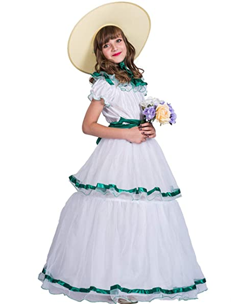 85d0e3240528 Amazon.com: Christmas Costume Southern Belle Dress with Hat Beautiful Party  Costume for Girls Kids: Clothing
